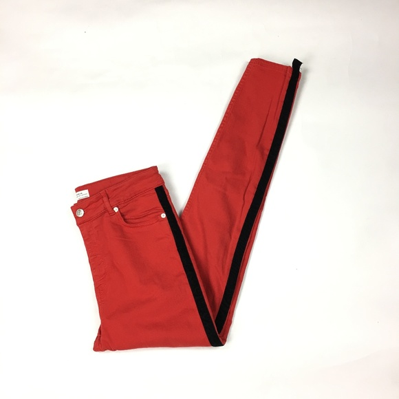New Womens Red /& White Stripe Slim Skinny Stretch Trousers